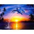 """Схема вышивки s02de-002 """"Дельфины в прыжке"""""""