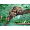 """Схема вышивки s02le-008 """"Леопард на дереве"""""""