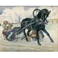 """Схема вышивки s13-004 """"Конь, запряженный в санки"""""""