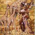 "Схема вышивки s60-008 ""Девушка и жирафы"""