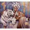 """Схема вышивки s60-014 """"Девушка и тигр"""""""