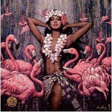 """Схема вышивки s60-015 """"Девушка и фламинго"""""""