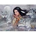"""Схема вышивки s60-018 """"Девушка и волки"""""""