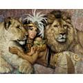 """Схема вышивки s60-033 """"Девушка и львы"""""""
