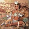 """Схема вышивки s60-040 """"Девушка и львы"""""""