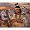 """Схема вышивки s60-041 """"Девушка и волки"""""""