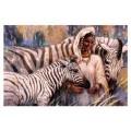 "Схема вышивки s60-045 ""Девушка и зебры"""